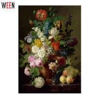Morden Floral pintura al óleo por números en la lona arte Cuadros decoración Quadros De Parede Sala Estar pared colorear por números