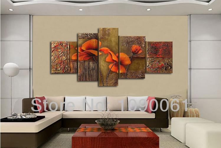 Handmade Modern Abstract Painting Canvas Texture Flower