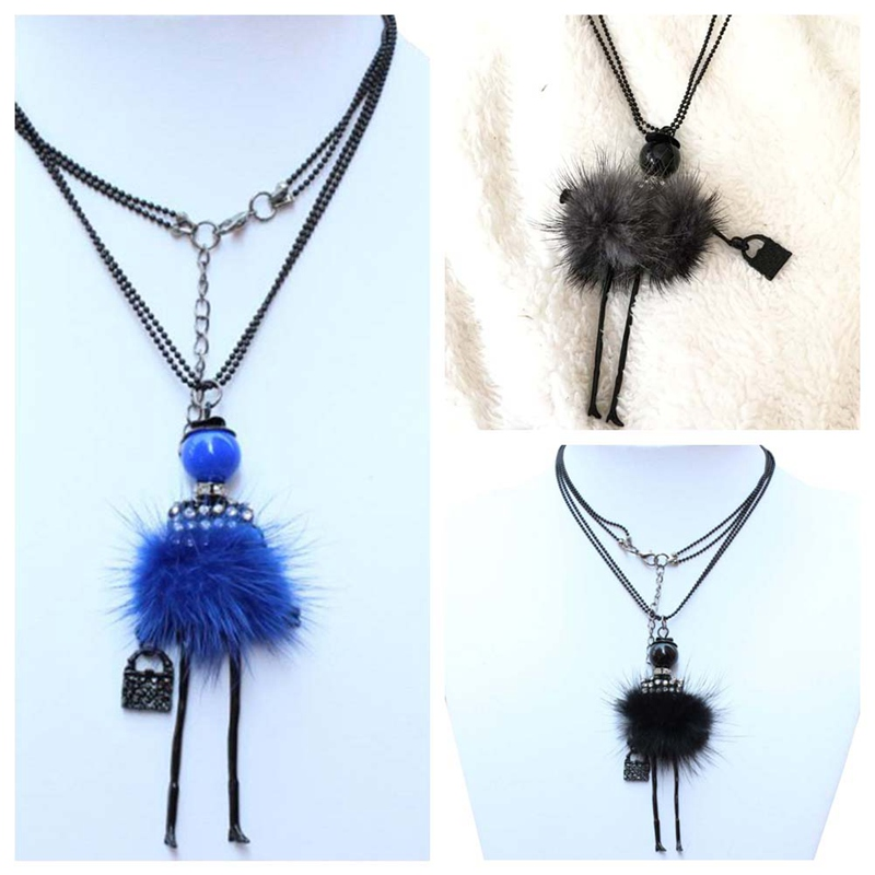New Design Mink Hair Ballerina Girl Long Necklace Sweater Chain Jewelry Feather Fitting