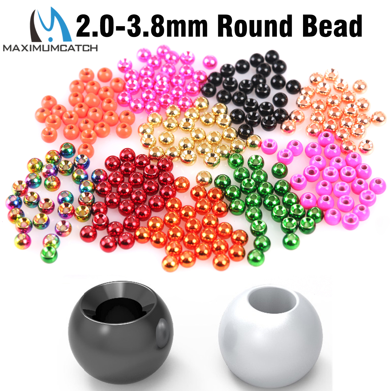 25 Slotted Tungsten Fly Tying Beads Size 3.8 mm Color Flourescent White