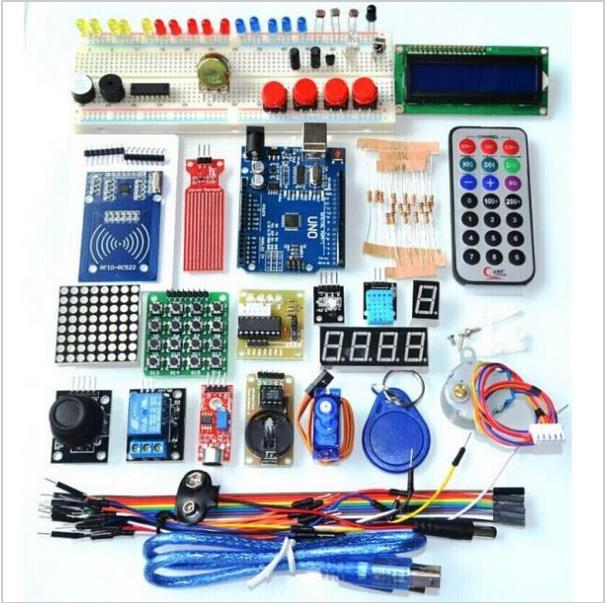 Trasporto Libero Versione Aggiornata Avanzata Starter Kit RFID imparare Suite di Kit LCD 1602 per Arduino UNO R3