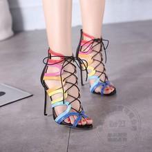 Rom Einfache Stöckelschuhe Weichem Leder Binden Schuhe Womans Partei Stiletto Heels Fischmaul High Heel Pumps Plain Regenbogen