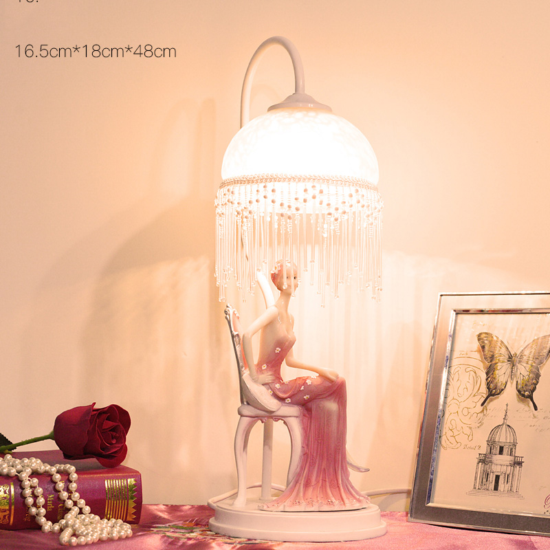 Vintage Creative Art Elegant pink dress lady sitting on a stool Table Lamp E27 Living Room Bedroom Bedside Resin Deco Desk Light 42 xdzs 260 elegant pink flamingo print art