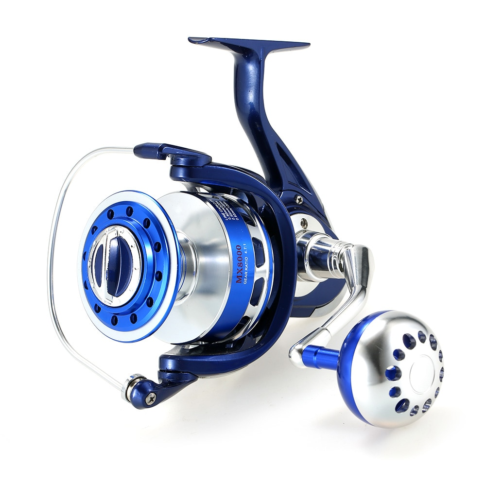 Super Smooth Spinning Fishing Reel Full Metal Body and Metal Spool Reel Right/Left 12+1BB Ball Bearing 4.7:1 Models 8000 image