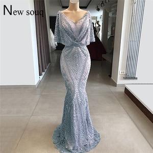 Image 5 - Tiếng Ả Rập Dubai Couture Hồi Giáo Váy Đầm Dạ Phối Ren Đính Hạt Nàng Tiên Cá Đảng Đồ Bầu Bán 2019 Đầm Vestido De Festa Hồi Giáo Chính Thức Đầm