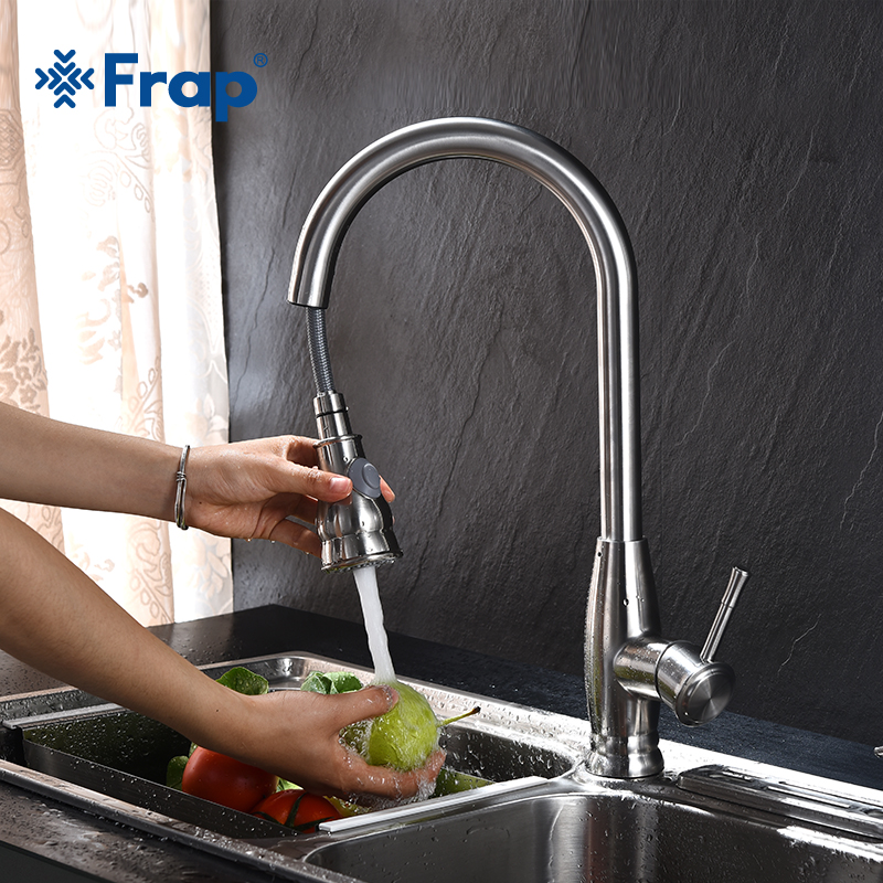 FRAP 304 Stainless steel Kitchen Faucet High Arch Kitchen Sink Faucet Pull Out Rotation Spray Mixer