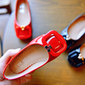 2016 new children's shoes Korea cute little red square buckle shoes single shoes free shipping