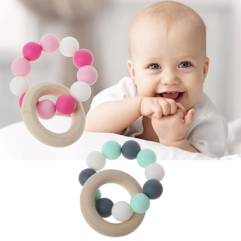 Baby Nursing Bracelets Wooden Teether Silicone Chew Beads Teething Rattles Toys Teether Montessori Bracelets