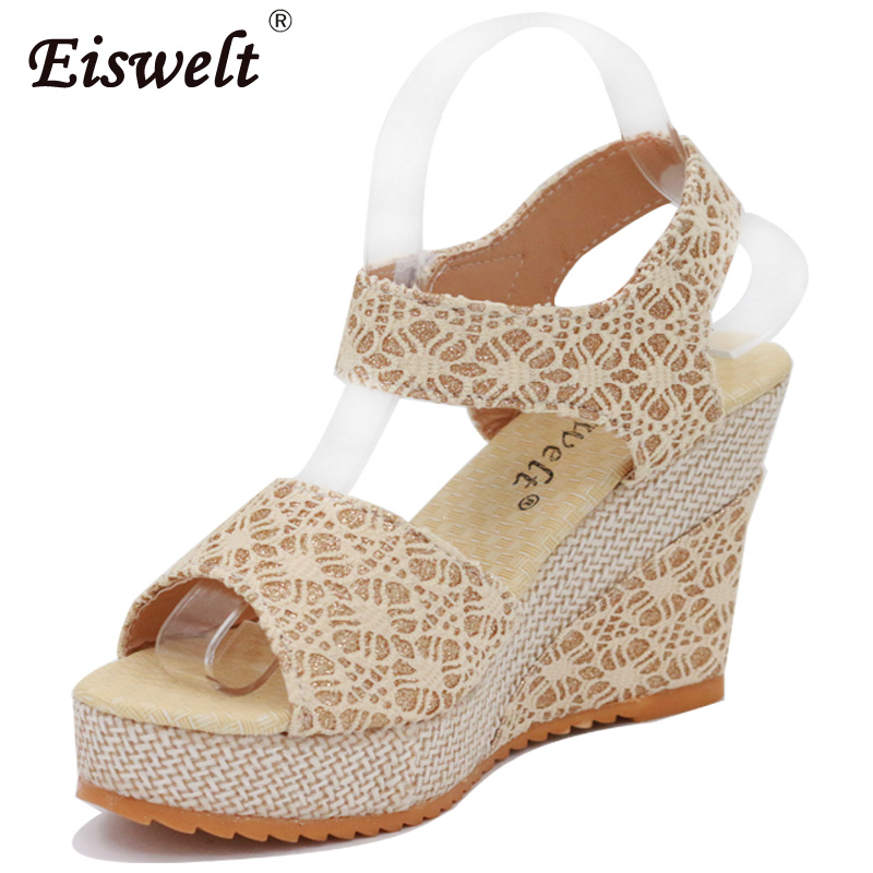 EISWELT Women Sandals Summer Fashion High Heels Platform Wedges Sandals Sweet Open Toe Fish Head Female Shoes #ZQS055 e toy word summer platform wedges women sandals antiskid high heels shoes string beads open toe female slippers