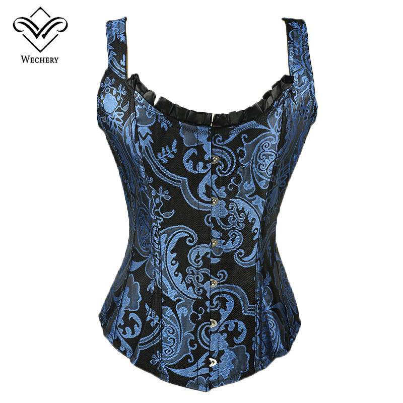 Wechery Corsage Steampunk Corset Sexy Waist trainer and Bustiers Slim Gothic Women Corselet Corset WIth 11 Steel Bone Busiter