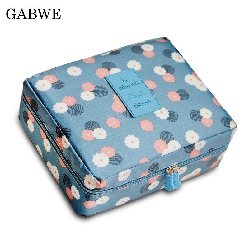 GABWE Zipper Women Makeup Bag Cosmetic Bag Beauty Case Make Up Toiletry Bag Kits Floral Nylon Organizer Storage Wash Bath Bags