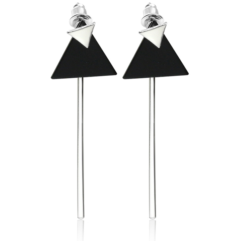 Small Triangle Stud Black Triangle Long Stick Pendant ...