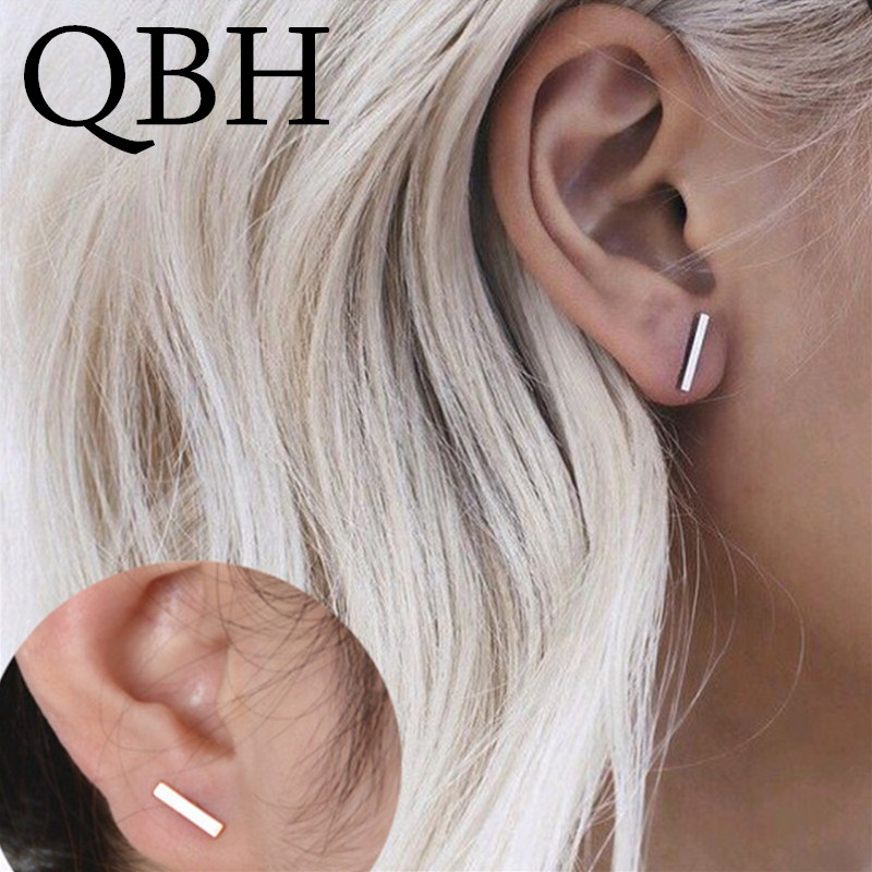 New Punk Stick Simple Geometric T Rectangle Bar Stud Earrings For Women Jewelry Small Square Triangle Brincos Oorbellen