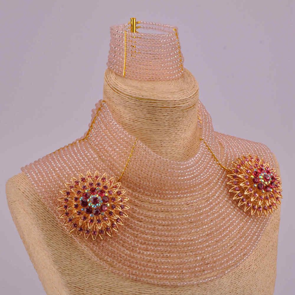Полный дизайн 25 слоев персик Африканские свадебные бусы нигерийский комплект ювелирных изделий Кристалл Свадебная вечерние Ювелирные наборы для женщин 25R06