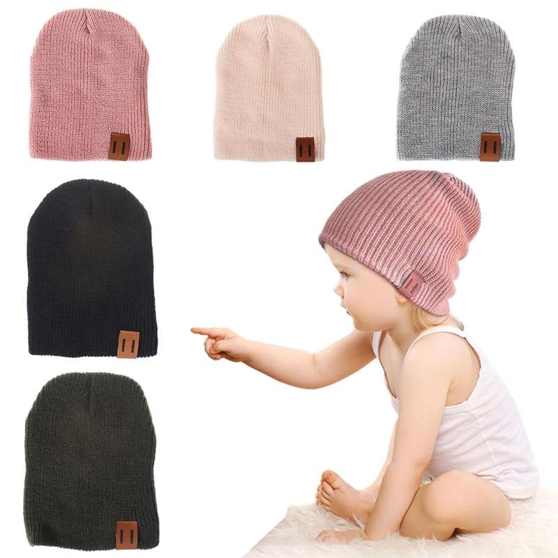 New Arrival Kids Girl Boy Winter Hat Baby Soft Warm Beanie Cap Crochet Elasticity Knit Hats Children Casual Ear Warmer Cap
