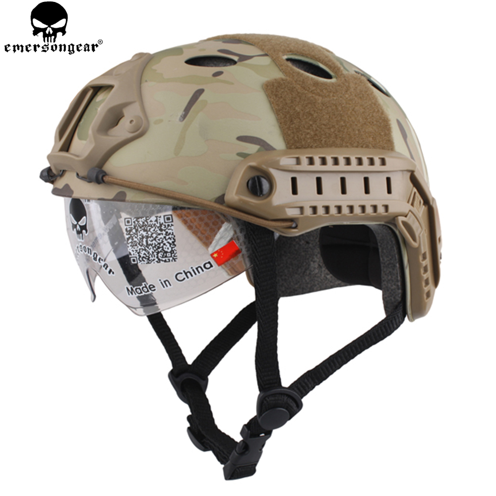 EMERSONGEAR FAST Helmet With Protective Goggle Glasses PJ Type Tactical Helmet For Airsoft Paintball Hiking Cycling EM8819 tactical fast helmet pj type sports protective helmet black de fg cycling helmet abs material m l