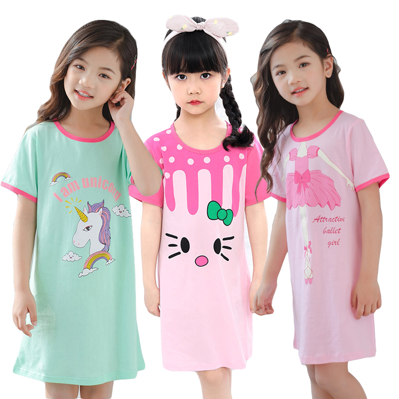 Girls Princess Night Gown Cotton Nighty Summer Short Unicorn Nightgown Kids Fashion Nightdress Cartoon Child Baby Sleeping Dress