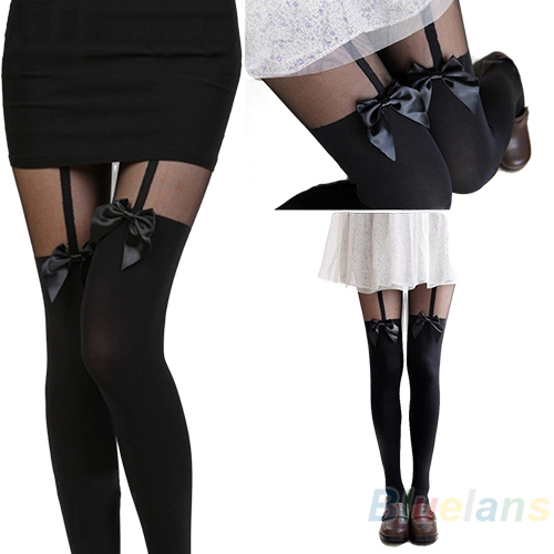 New Vintage Sexy Cute Stockings Pantyhose Tattoo Mock Bow Suspender Sheer Tights hot BJBN