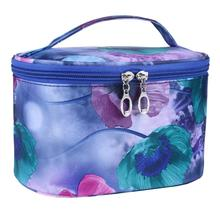 2016 Impressive Women Makeup Girls Flower Series PVC Portable Ladies Business Cosmetic Bag Casual Purse mochila feminina