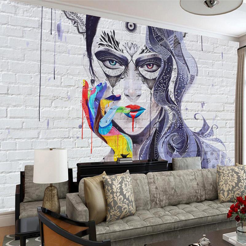 Graffiti <font><b>Sexy</b></font> Beauty Brick <font><b>Wall</b></font> Wallpaper Papel De Parede <font><b>3D</b></font> Custom <font><b>Wall</b></font> Painting Living Room Bedroom Art Mural <font><b>Wall</b></font> <font><b>Paper</b></font> Decor image