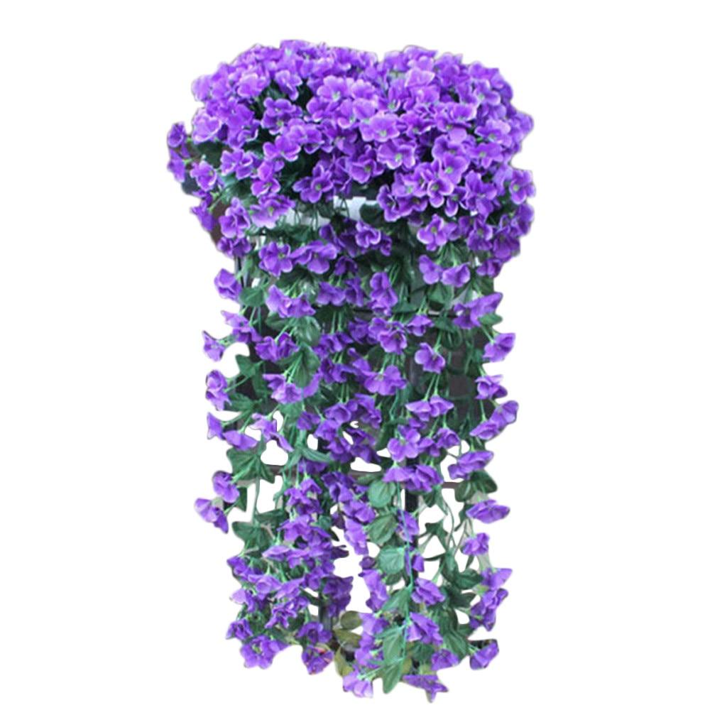 New Violet Artificial Flower Decoration Simulation Wall Hanging Basket Flower Orchid Silk Flower Vine Kunstliche Blumen