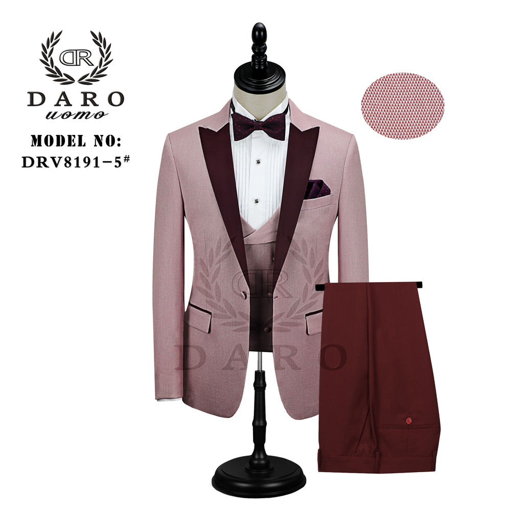 DARO Men Suit Bridegroom Wedding Tuxedo New Style Blazer Pattern Jacket Vest Pant 3 Piece Slim Fit White Gold Blue Wine  Party