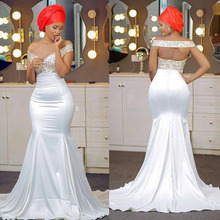 Off The Shoulder Mermaid Evening Dresses Appliques Lace Satin Backless Aso Ebi African Nigerian Prom Sweep Train