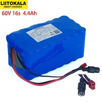 LiitoKala 60V 16S2P 67.2V 4.4A 18650 Battery Pack Li Ion 4400mAh Ebike Electric Bicycle Scooter with 20A discharge BMS 1000 Watt