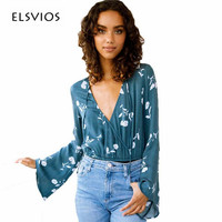 ELSVIOS New Arrival Sexy V Neck Floral Print Bodysuits Women Long Flare Sleeve Elegant Jumpsuits Rompers