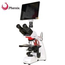 Phix Профессиональный цифровой микроскоп 40X-1600X тринокулярный биологический микроскоп 9,7 дюймов ЖК-экран 5MP камера для студентов