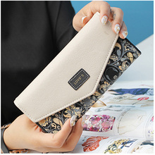 Fashion Envelope Women Wallet Hit Color 3 Fold Flower Print PU Leather Wallets Long Purse Coin Packet Card Holder Wallets Bolsas dudini fashion casual style ladies wallet solid color lichee pattern women wallets 3 fold pu leather short section small wallet