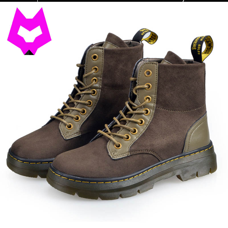 Boots Women Full Grain Leather Sewing Pu Botas Mujer Dr Martin Boots Vintage Style Shoes Fashion Ankle Famous Genuine whensinger 2017 new women fashion boots genuine leather fashion shoes rubber sole hands sewing 2 color 7126