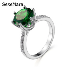 2017 Fashion Rings for Women 6 Prong Setting Female Anel Grande Casamento,Silver color Ring with Green Stones Crystal Jewelry