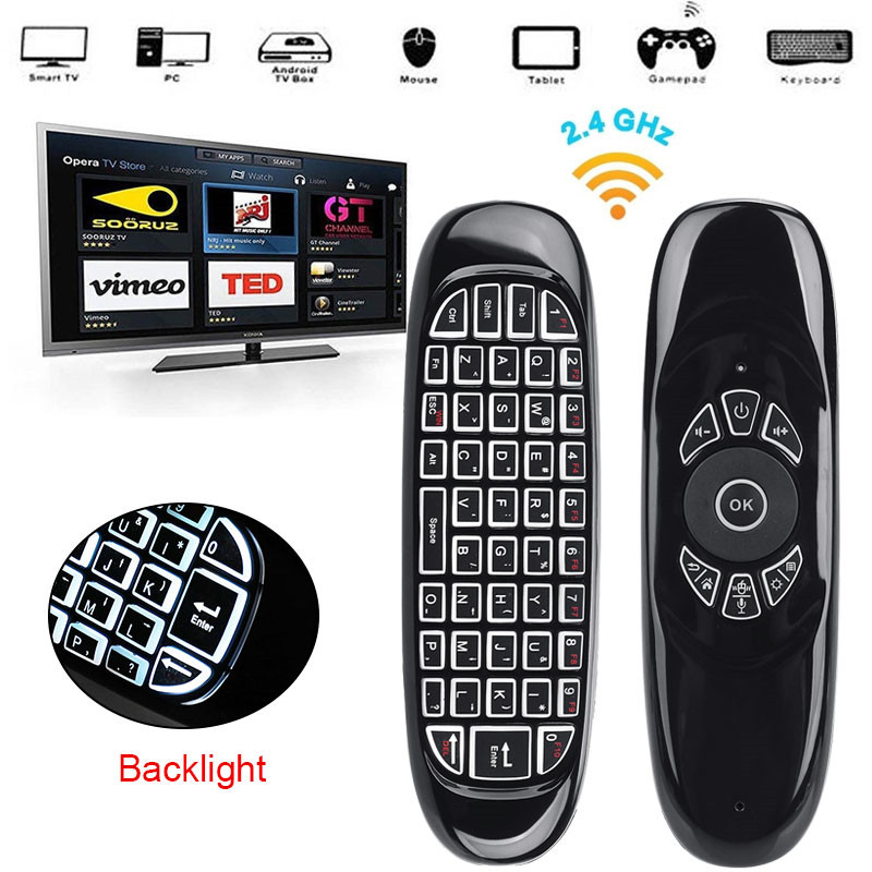 C120 2.4G Gyroscope Air Mouse Mini Wireless Keyboard Russia English for Android Smart TV Box PC Windows Mac Remote Control