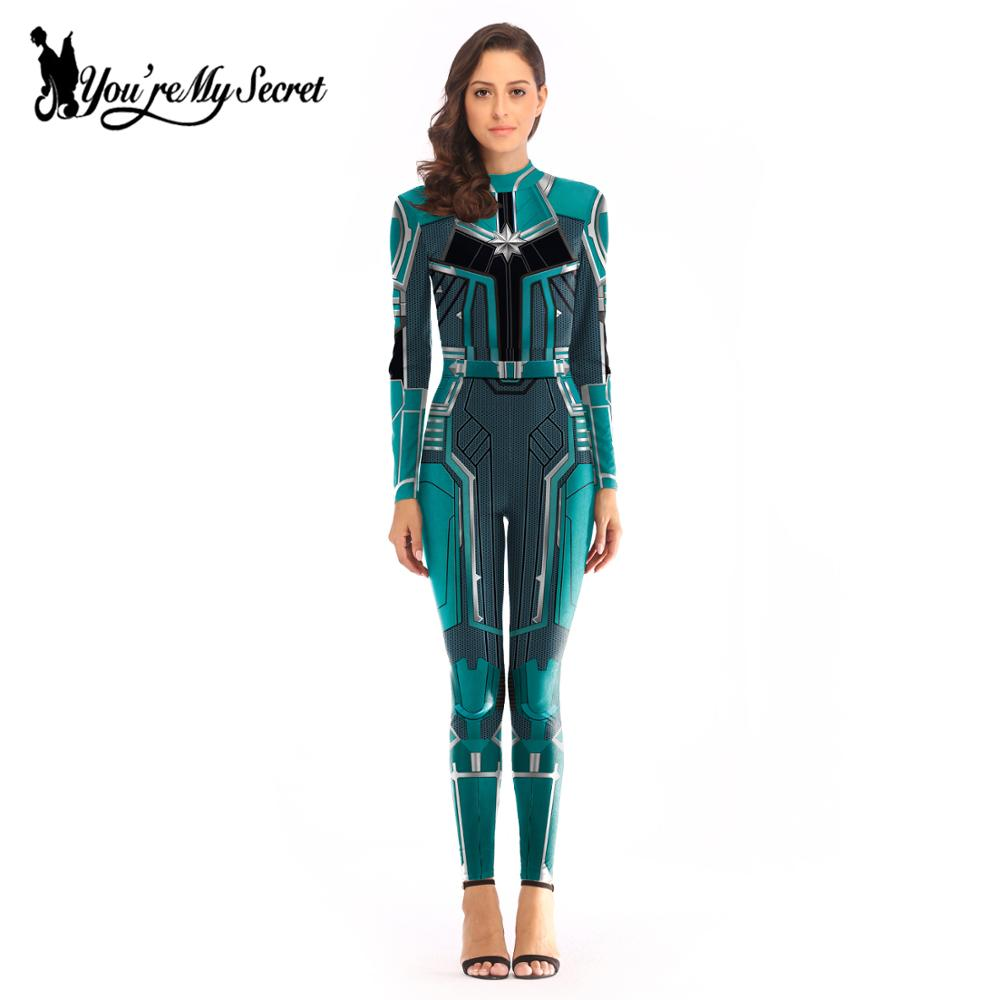 [You're My Secret] 2019 Cosplay Costume Women  Carol Danvers Slim Bodysuit Black Widow Jumpsuit  Catsuit