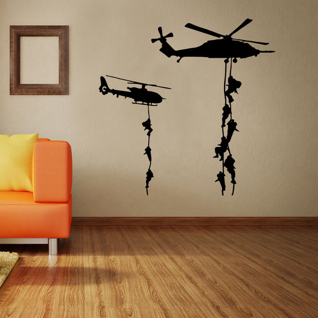 Army Solider Helicopter Wall Stickers For Kids Boys Bedroom Decor