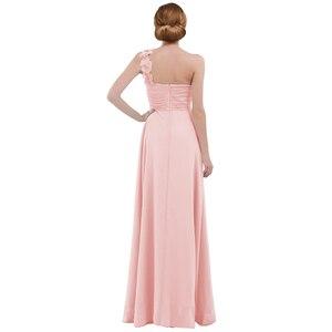 Image 3 - Femmes dames longue robe de demoiselle dhonneur en mousseline de soie une épaule plissée dentelle taille haute étage longueur robe de mariage fête robe de bal