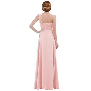 Image 3 - Women Ladies Long Bridesmaid Dress Chiffon One shoulder Pleated Lace High waist Floor Length Dress Wedding Party Prom Gown