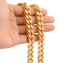 Granny Chic Curb Link Necklace Or Bracelet Chain Mens Boys Stainless Steel Cut Cuban Gold Tone 9mm Wide 7-32 Inch Choose цены