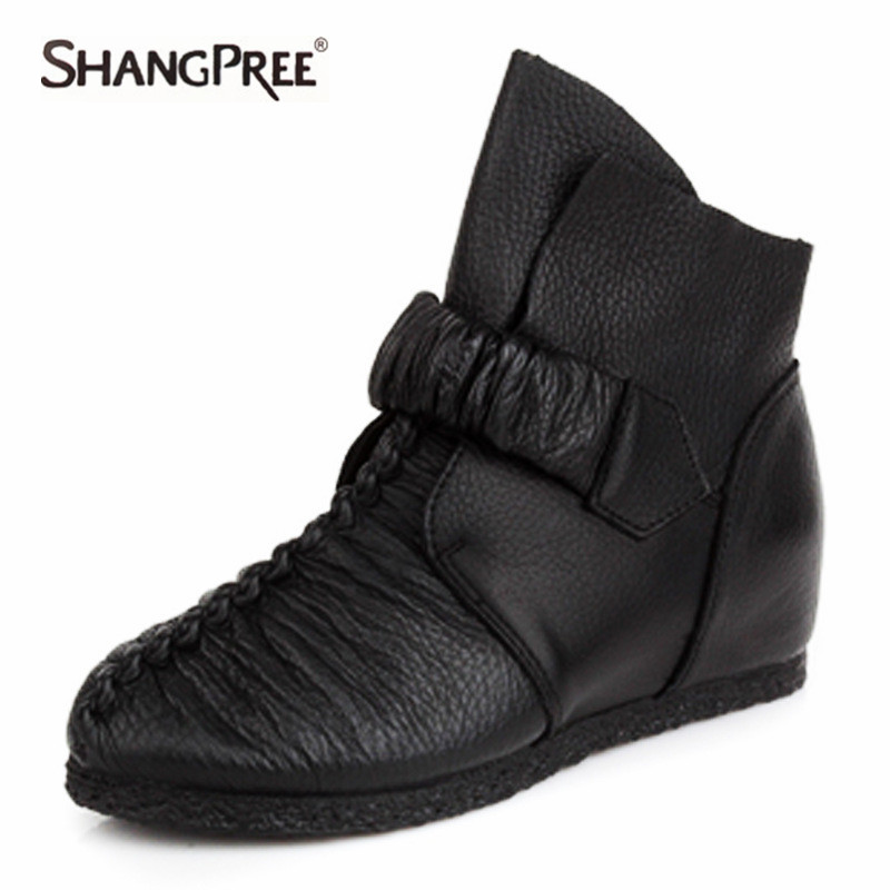 2017 Autumn Winter New Retro Pleated Women Genuine Leather Shoes Ankle boots Women Personality sets of soft foot Martin boots 2017 new women autumn winter genuine