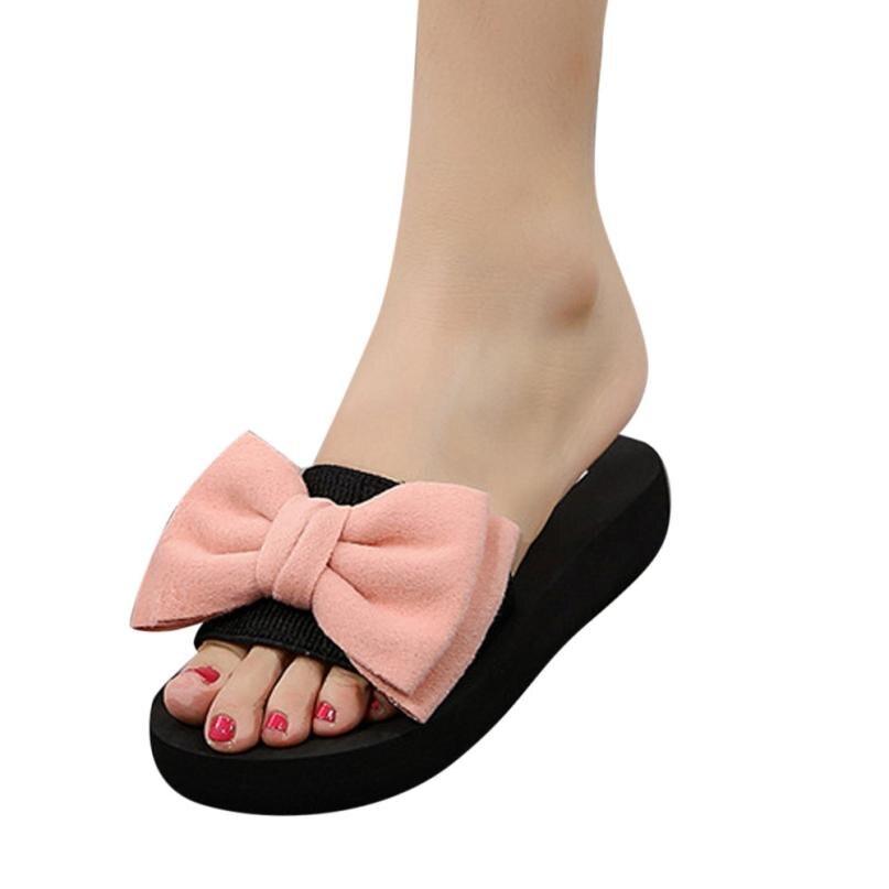 2018 Bogen Hausschuhe Satin Mode Dias Frauen Sommer Sandalen Chinelo Schöne Strand Schuhe Rihanna Casual Flip-flops Trendy Hot 3,29