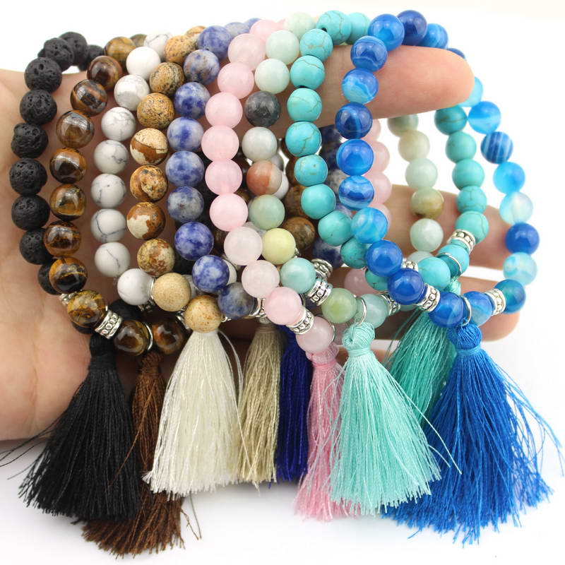 2016 Hot Sale Elastic Semi-precious Stone Beaded Tassel Bangles Bracelets for Women Fashion Mix Disco Ball Bracelet Jewelry