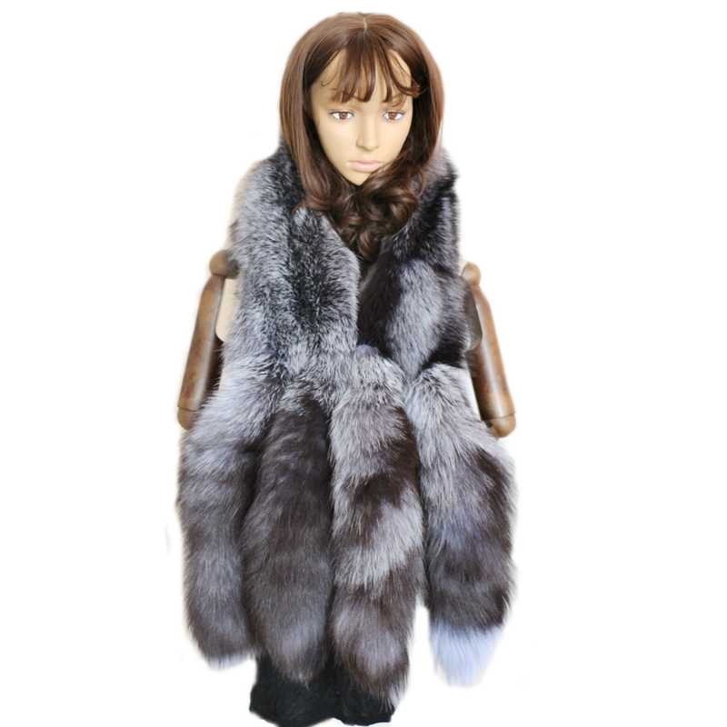 Genuine gray silver fox tail fur scarves women party fashion natural real fox scarf for winter