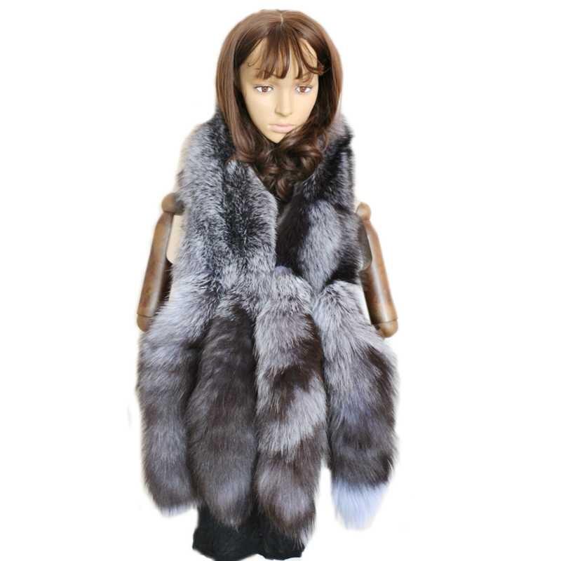 Véritable gris argent fox queue de fourrure echarpes femmes parti mode naturel réel renard écharpe pour l'hiver cou chaud blanc de fourrure renard châle