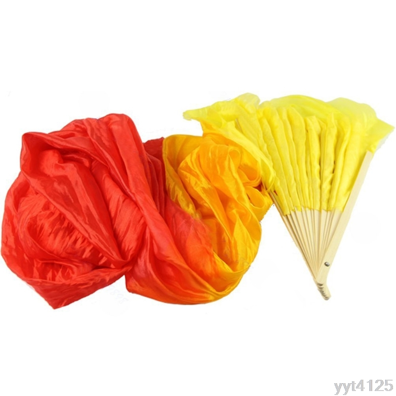 1 Pc Stage Performance Property Dance Fans Colorful Hand Made Belly Dance Dancing Silk Bamboo Long Dance Fan Veils 4 Colors