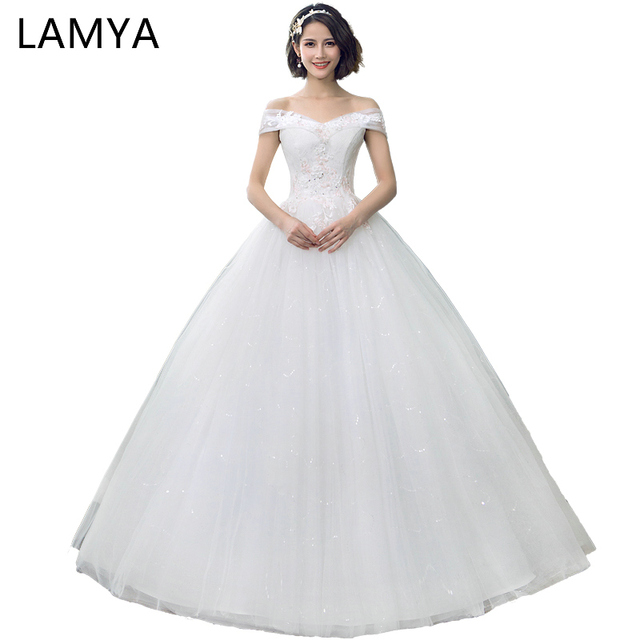 ae1120e0a4b38 LAMYA A Line Flower Mermaid Bridal Gowns Lace Princess Elegant Organza  Gelinlik Applique Wedding Dresses Trouwjurk