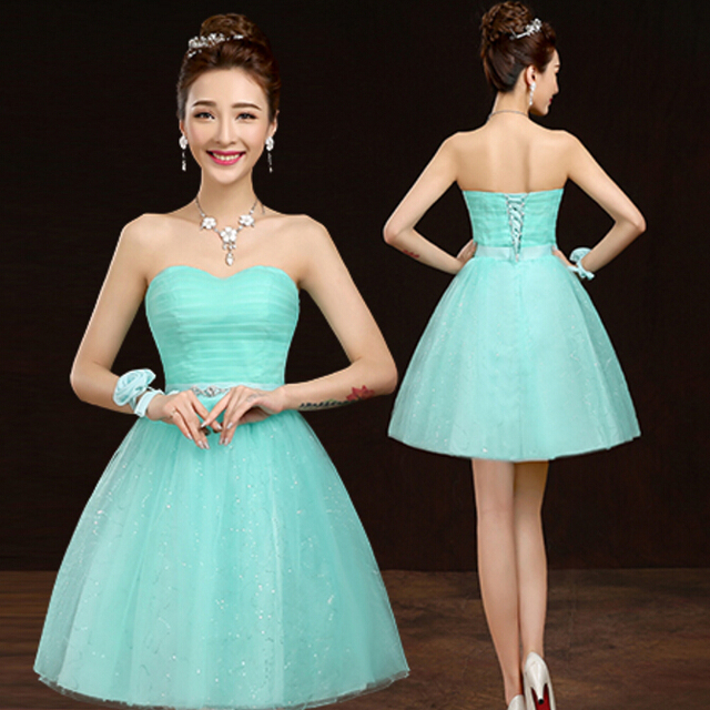 Short Sparkly Sweet 16 Elegant Sexy Strapless Knee Length Mint Green