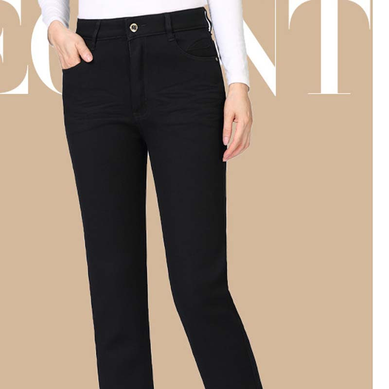 Gran Señoras Alta Nuevas 2018 Terciopelo Recto Otoño Pxos65mm8032 Negro Estiramiento Tamaño Cintura Vaqueros Más Edad Delgado De Pantalones Mediana FqBE7w