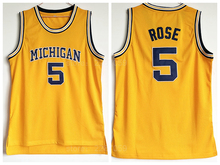 Ediwallen Men Throwback 5 Jalen Rose Michigan Wolverines Basketball Jerseys  Uniforms Yellow Color College Jalen Rose Jersey Sale 93354cd5a