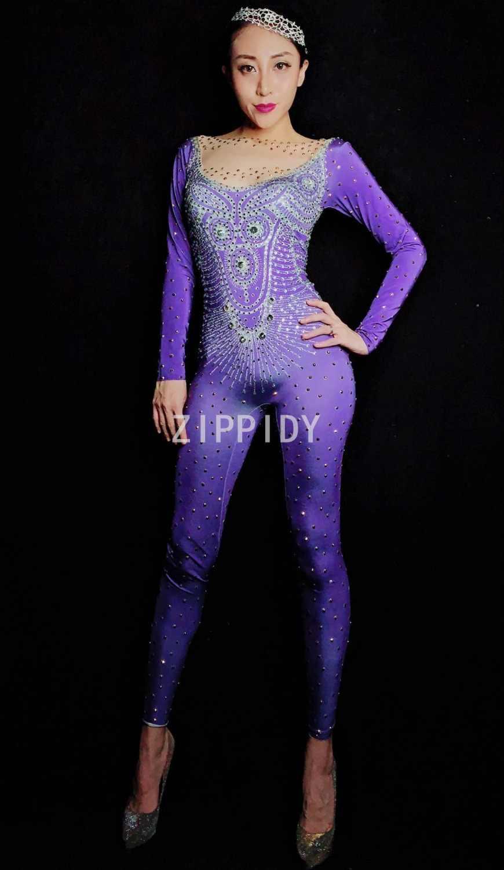 0ef35b0aff Detail feedback questions about flashing silver gold rhinestones jpg  870x1500 Women purple jumpsuit